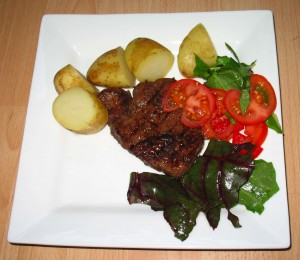Steak, Potatoes and Salad