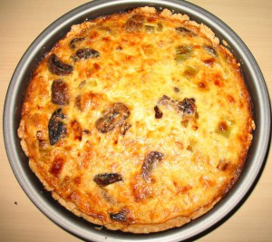 Leek and Mushroom Quiche, straight from the oven