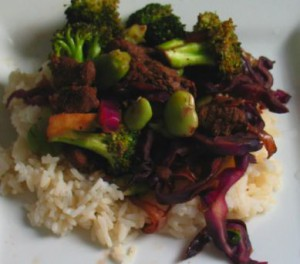 Broad bean, Broccoli and Red Cabbage Stir-fry