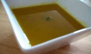 Carrot and Coriander Soup, garnished with coriander flowers