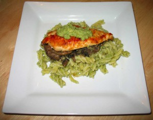 Chilli Chicken, on broccoli pesto pasta