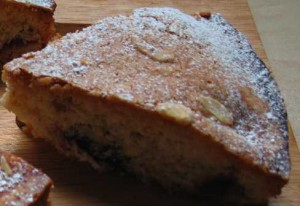 One slice of cherry bakewell cake