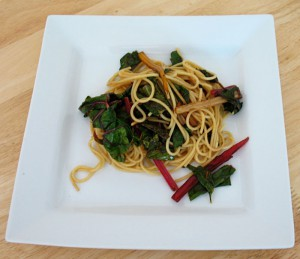 Caramelised Chard with Spaghetti
