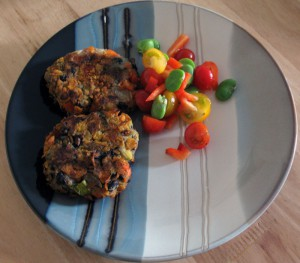 Mexican burger with tomato and broad bean salsa
