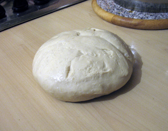 Dough turned out, after first rising