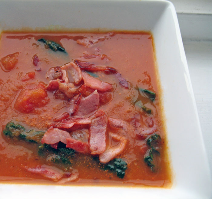 Bacon, Tomato and Kale Soup
