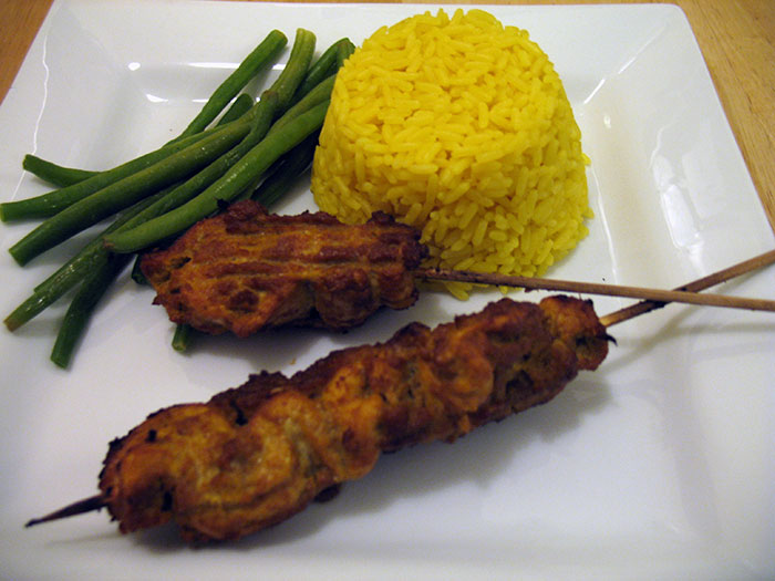 Chicken Satay, with rice and green beans