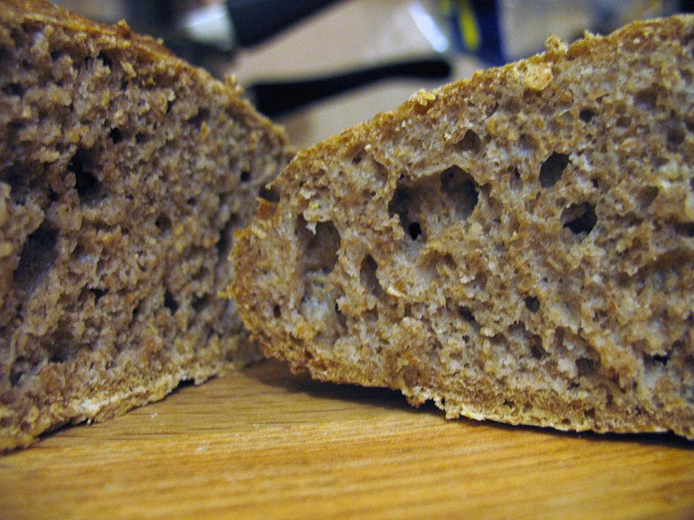 A slice of No Knead Bread