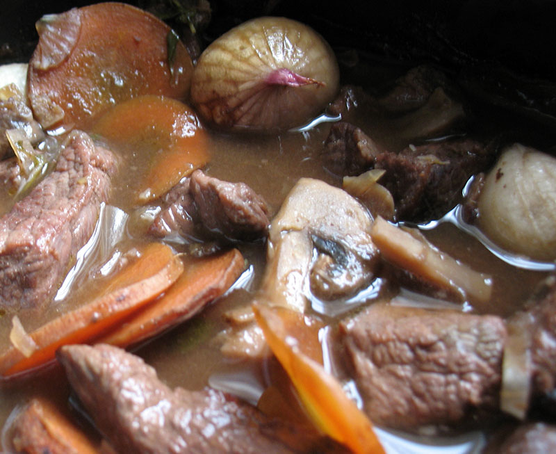 Beef Bourguignon in Slow Cooker