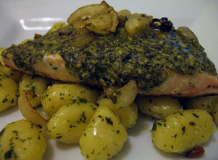 Pesto Salmon with Gnocchi