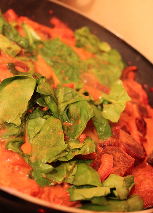 Beetroot Curry with spinach