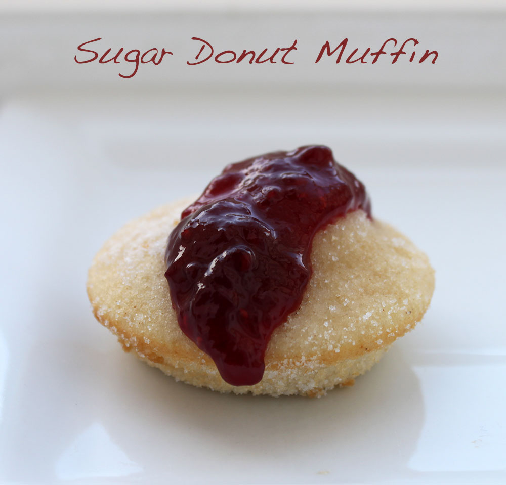 Sugar Donut Muffin with raspberry jam