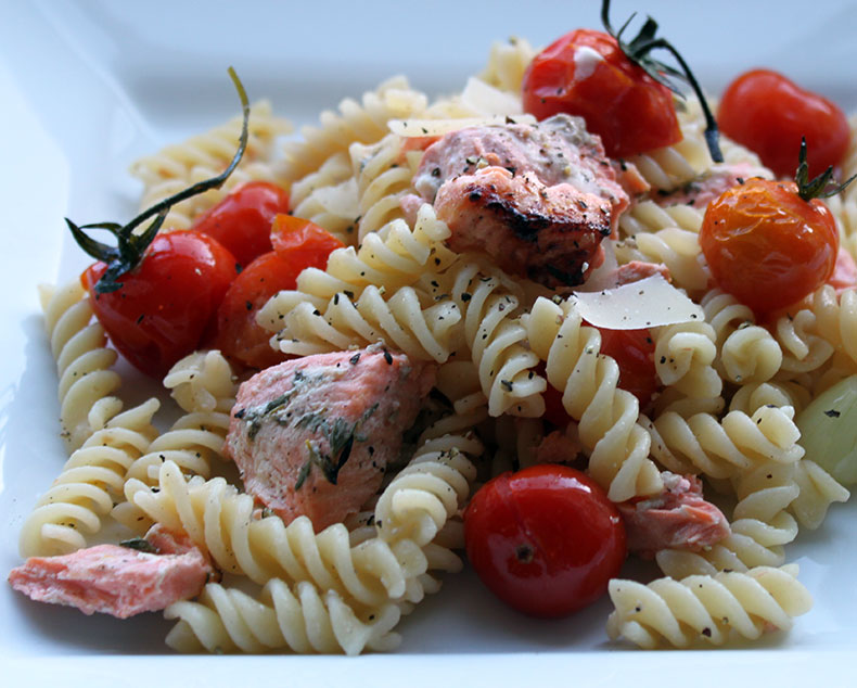 Grilled Trout, tomatoes and pasta