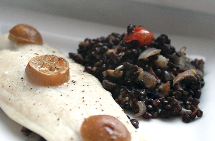 Baked Fish and Mustardy Puy Lentils